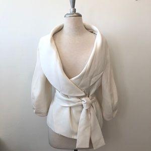 Zara Ivory Open Round Neck Tie Blazer Jacket XL